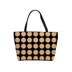 Circles1 Black Marble & Natural White Birch Wood Shoulder Handbags by trendistuff