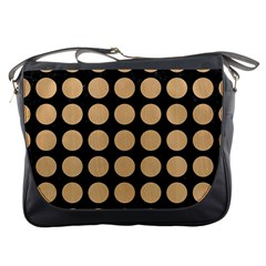 Circles1 Black Marble & Natural White Birch Wood Messenger Bags by trendistuff