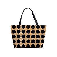 Circles1 Black Marble & Natural White Birch Wood (r) Shoulder Handbags by trendistuff
