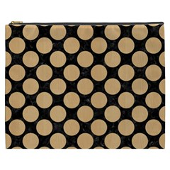 Circles2 Black Marble & Natural White Birch Wood Cosmetic Bag (xxxl)  by trendistuff