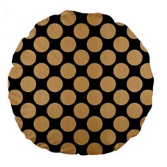 Circles2 Black Marble & Natural White Birch Wood Large 18  Premium Round Cushions by trendistuff