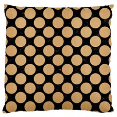 Circles2 Black Marble & Natural White Birch Wood Large Flano Cushion Case (one Side) by trendistuff