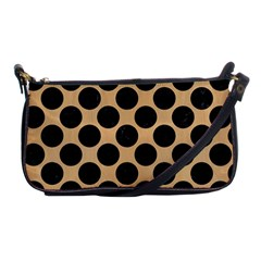Circles2 Black Marble & Natural White Birch Wood (r) Shoulder Clutch Bags by trendistuff