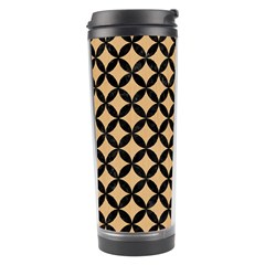 Circles3 Black Marble & Natural White Birch Wood (r) Travel Tumbler by trendistuff