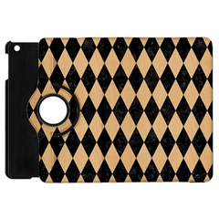 Diamond1 Black Marble & Natural White Birch Wood Apple Ipad Mini Flip 360 Case by trendistuff