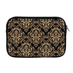 Damask1 Black Marble & Natural White Birch Wood Apple Macbook Pro 17  Zipper Case