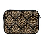 DAMASK1 BLACK MARBLE & NATURAL WHITE BIRCH WOOD Apple MacBook Pro 17  Zipper Case Front