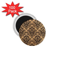 Damask1 Black Marble & Natural White Birch Wood (r) 1 75  Magnets (100 Pack)