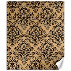 Damask1 Black Marble & Natural White Birch Wood (r) Canvas 8  X 10  by trendistuff
