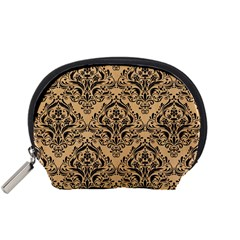 Damask1 Black Marble & Natural White Birch Wood (r) Accessory Pouches (small)  by trendistuff