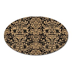Damask2 Black Marble & Natural White Birch Wood Oval Magnet by trendistuff