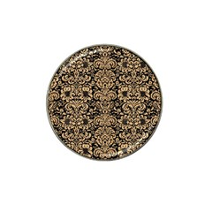 Damask2 Black Marble & Natural White Birch Wood Hat Clip Ball Marker by trendistuff