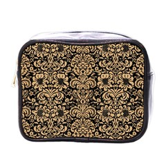 Damask2 Black Marble & Natural White Birch Wood Mini Toiletries Bags by trendistuff