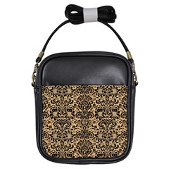 Damask2 Black Marble & Natural White Birch Wood (r) Girls Sling Bags by trendistuff