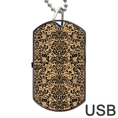 Damask2 Black Marble & Natural White Birch Wood (r) Dog Tag Usb Flash (two Sides) by trendistuff