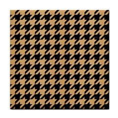 Houndstooth1 Black Marble & Natural White Birch Wood Tile Coasters