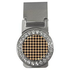 Houndstooth1 Black Marble & Natural White Birch Wood Money Clips (cz)