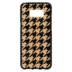 Houndstooth1 Black Marble & Natural White Birch Wood Samsung Galaxy S8 Plus Black Seamless Case by trendistuff