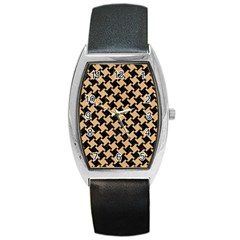 Houndstooth2 Black Marble & Natural White Birch Wood Barrel Style Metal Watch by trendistuff