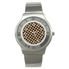 Houndstooth2 Black Marble & Natural White Birch Wood Stainless Steel Watch by trendistuff