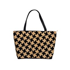 Houndstooth2 Black Marble & Natural White Birch Wood Shoulder Handbags by trendistuff
