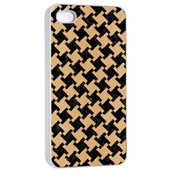 Houndstooth2 Black Marble & Natural White Birch Wood Apple Iphone 4/4s Seamless Case (white) by trendistuff