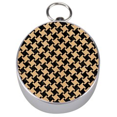 Houndstooth2 Black Marble & Natural White Birch Wood Silver Compasses by trendistuff