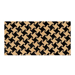 Houndstooth2 Black Marble & Natural White Birch Wood Satin Wrap