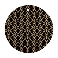 Hexagon1 Black Marble & Natural White Birch Wood Round Ornament (two Sides) by trendistuff