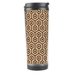 Hexagon1 Black Marble & Natural White Birch Wood (r) Travel Tumbler by trendistuff