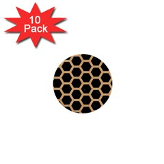 Hexagon2 Black Marble & Natural White Birch Wood 1  Mini Buttons (10 Pack)  by trendistuff