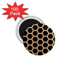 Hexagon2 Black Marble & Natural White Birch Wood 1 75  Magnets (100 Pack)  by trendistuff