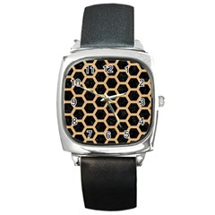 Hexagon2 Black Marble & Natural White Birch Wood Square Metal Watch by trendistuff