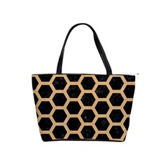 Hexagon2 Black Marble & Natural White Birch Wood Shoulder Handbags by trendistuff