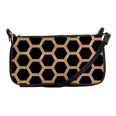 Hexagon2 Black Marble & Natural White Birch Wood Shoulder Clutch Bags by trendistuff