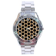 Hexagon2 Black Marble & Natural White Birch Wood Stainless Steel Analogue Watch by trendistuff