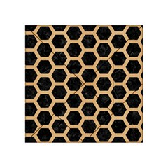 Hexagon2 Black Marble & Natural White Birch Wood Acrylic Tangram Puzzle (4  X 4 ) by trendistuff