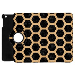 Hexagon2 Black Marble & Natural White Birch Wood Apple Ipad Mini Flip 360 Case by trendistuff