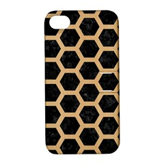Hexagon2 Black Marble & Natural White Birch Wood Apple Iphone 4/4s Hardshell Case With Stand by trendistuff