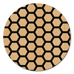 HEXAGON2 BLACK MARBLE & NATURAL WHITE BIRCH WOOD (R) Magnet 5  (Round) Front