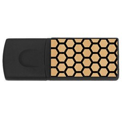 Hexagon2 Black Marble & Natural White Birch Wood (r) Rectangular Usb Flash Drive by trendistuff