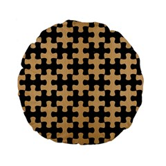 Puzzle1 Black Marble & Natural White Birch Wood Standard 15  Premium Flano Round Cushions by trendistuff