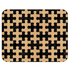 Puzzle1 Black Marble & Natural White Birch Wood Double Sided Flano Blanket (medium)  by trendistuff