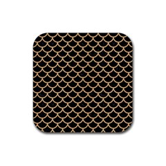 Scales1 Black Marble & Natural White Birch Wood Rubber Square Coaster (4 Pack)  by trendistuff