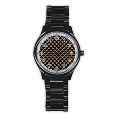 Scales1 Black Marble & Natural White Birch Wood Stainless Steel Round Watch by trendistuff
