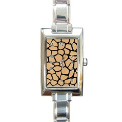 Skin1 Black Marble & Natural White Birch Wood Rectangle Italian Charm Watch by trendistuff