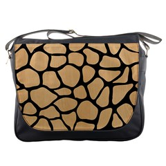 Skin1 Black Marble & Natural White Birch Wood Messenger Bags by trendistuff