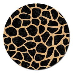 Skin1 Black Marble & Natural White Birch Wood (r) Magnet 5  (round)