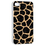 SKIN1 BLACK MARBLE & NATURAL WHITE BIRCH WOOD (R) Apple iPhone 4/4s Seamless Case (White) Front