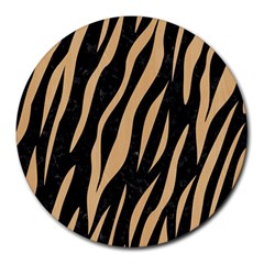 Skin3 Black Marble & Natural White Birch Wood Round Mousepads by trendistuff